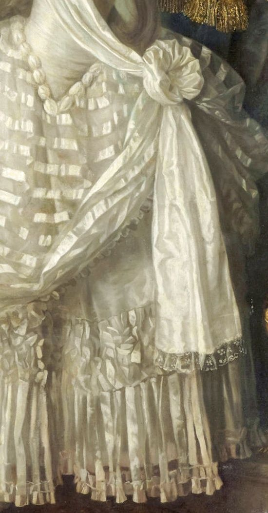 Detail of gown drapery and petticoat from ~ 'A portrait of a lady in white' ~ 1776 ~ by Louis Lié Périn-Salbreux (1753 - 1817)