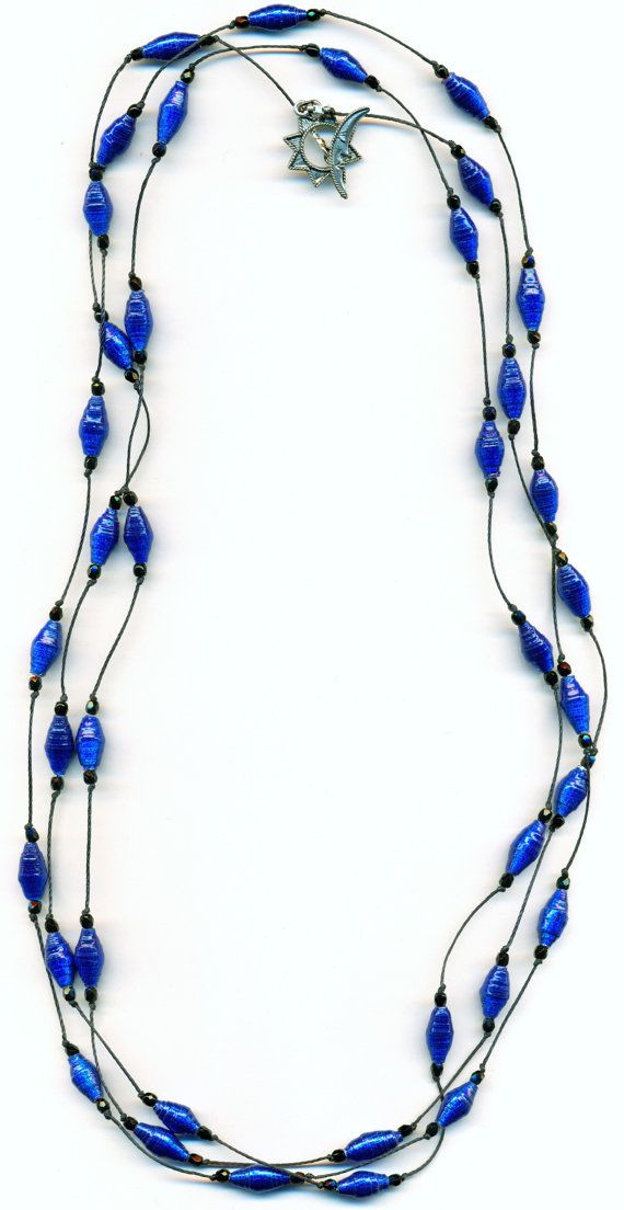 Cobalt Blue Metallic Paper Bead Knotted by FeithHodgeCreations, $32.50