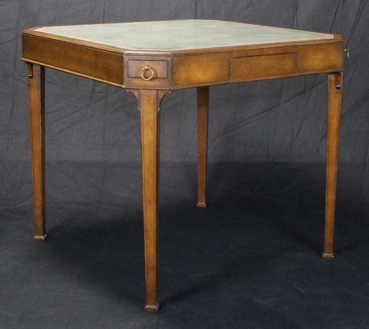 Regency Style Leather Top Games Table