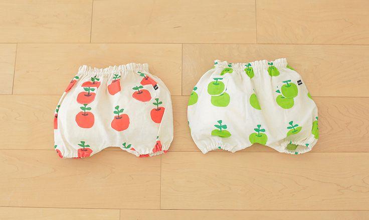 かぼちゃパンツの手作りキットの通販です。ringonomori(レッド・グリーン)のかぼちゃパンツはりんご模様がとびきりキュート!布と型紙、作り方説明書とパーツをまるごとセットでお届け!
