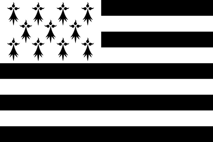 Gwenn ha Du (drapeau breton) – Version à onze mouchetures – Crédit Photo : GwenofGwened – Licence CC BY-SA 4.0