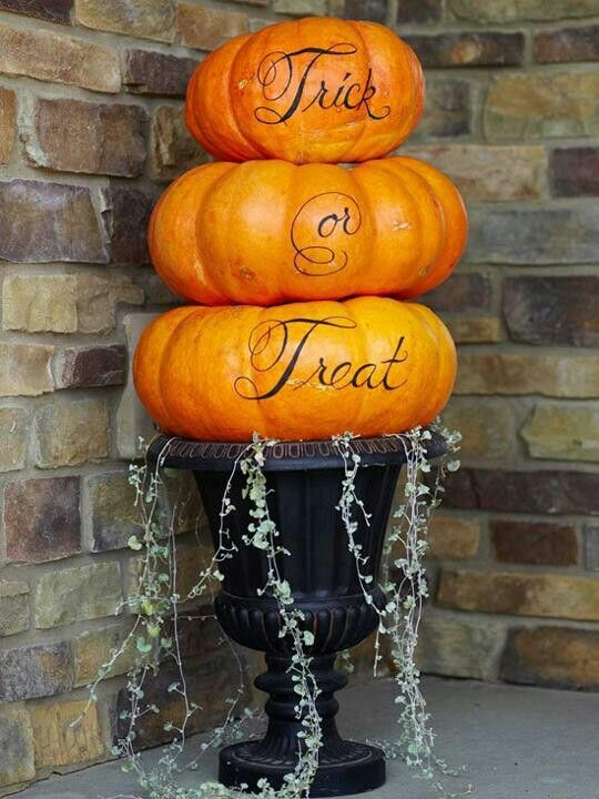Halloween Pumpkins Stacked In Urn Planter