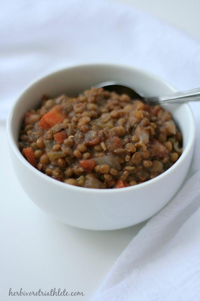 Simple Lentil Soup // herbivoretriathlete.com | soups ...