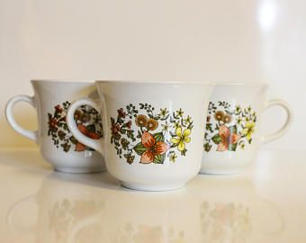 Vintage Corelle Indian Summer Coffee Cups ~ Corelle by Corning Ware ~ Summer Wildflowers Boho Coffee Cups ~ Floral Corelle Mugs ~ Set of 3 -    Edit Listing  - Etsy