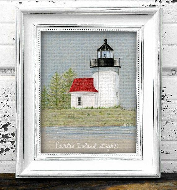 Curtis Island Lighthouse Original Colored Pencil Drawing
