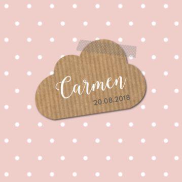 Geboortekaartje stippen wolk #geboortekaartje #birthannouncement #babykaart