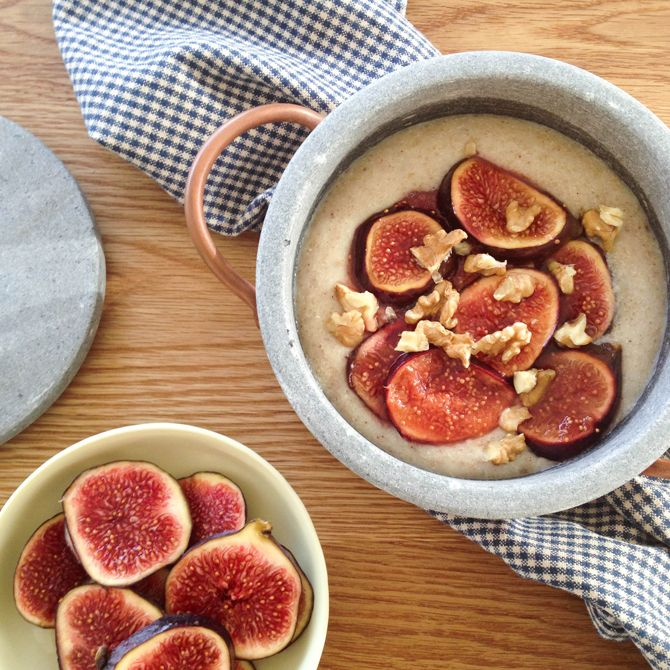 cinnamon spiced amaranth porridge with fits | healthy breakfast recipes.