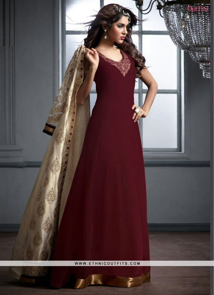 Affectionate Cream and Maroon Georgette Designer Salwar Suit  Email - support@ethnicoutfits.com Call - +918140714515 What's app/Viber- +918141377746
