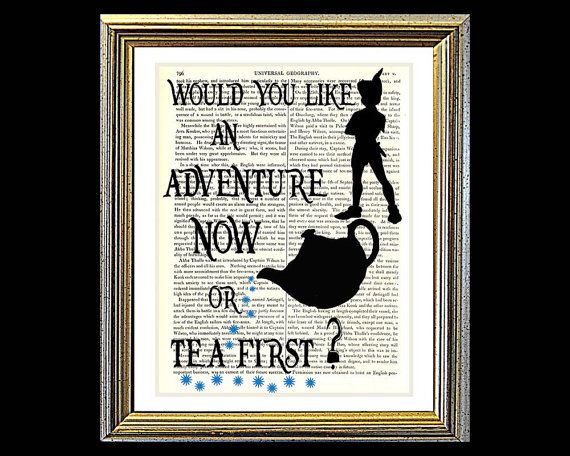Would You Like An Adventure or Tea First. PETER by VintageTextArt, $10.00