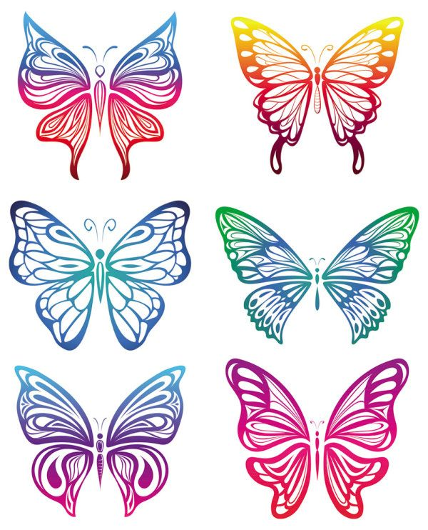 butterfly vector graphics | ... : butterfly, paper cutting, pattern, colorful, color, vector material