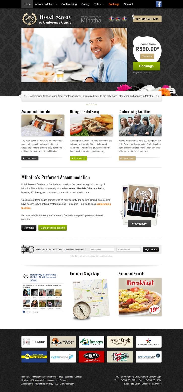 Website design for Hotel Savoy