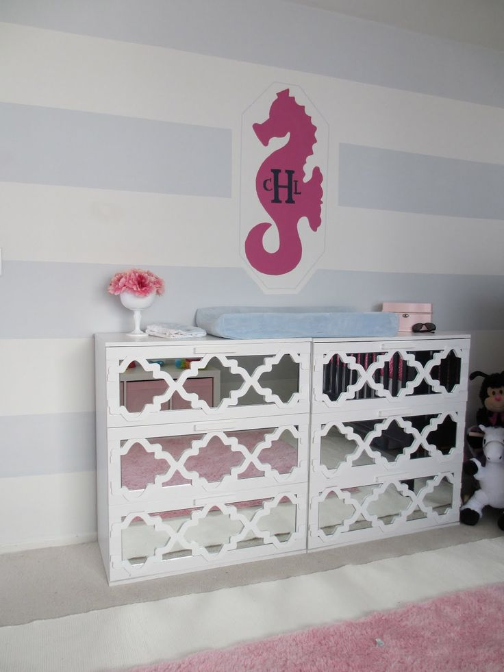 I am obsessed with IKEA hacks.: Baby Changing Stations, Ikea Hacks, Diy Mirror, Hollywood Regency, Ikea Hackers, Mirror Dressers, Changing Tables, Girls Rooms, Chest Of Drawers