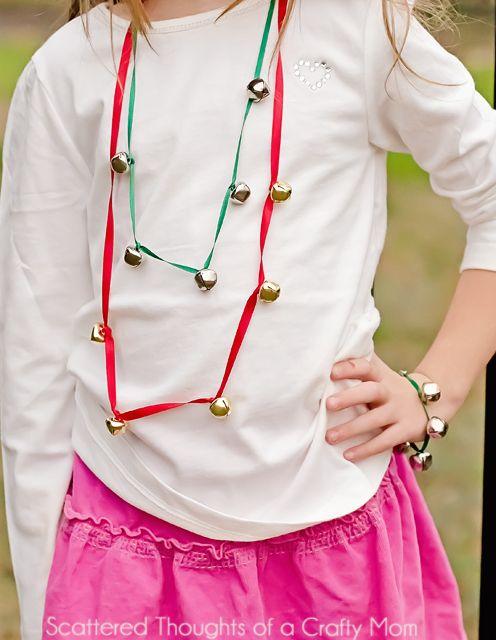 DIY Jingle Bell Necklaces! Great craft for kids! #DIY #Christmas #ChristmasKids