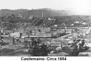 Castlemaine during the gold-rush era. The date shown (1854) is incorrect. The Burke & Wills monument on the hill in the background was erected in 1862.