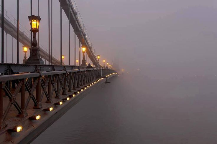 Chain Bridge during fog.  In between Buda and Pest, Budapest, Hunagary