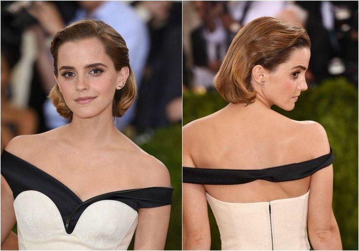coupe au carré et coiffure élégante avec cheveux tirés en arrière et robe en noir et blanc - Emma Watson