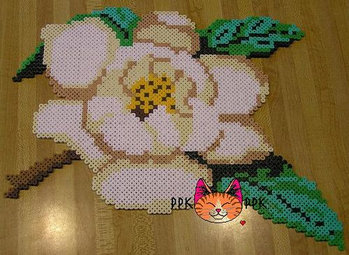 Magnolia perler fuse beads by PPK