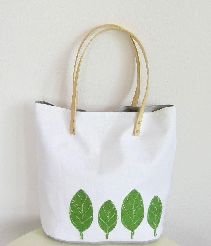 Clean white and green tote bag #linen #totebag