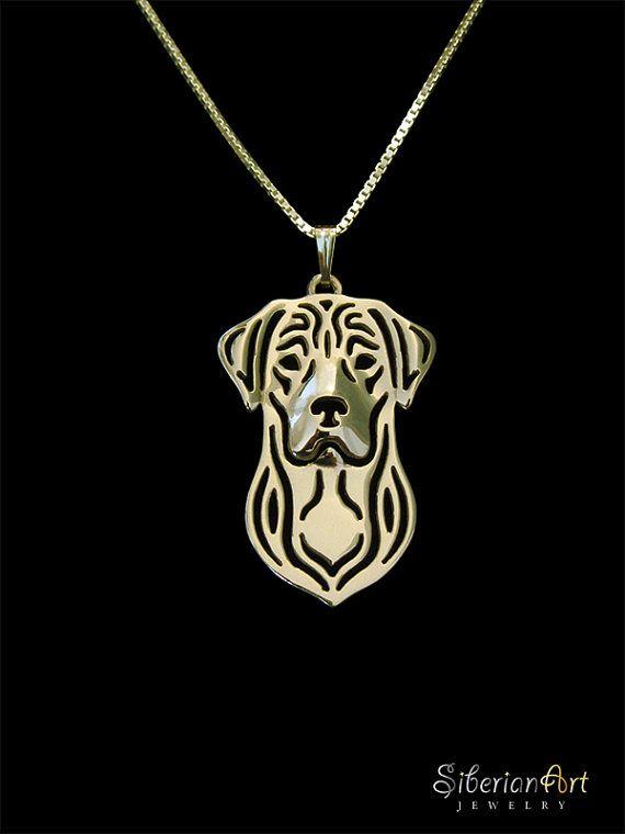 Labrador Retriever gold pendant and van SiberianArtJewelry op Etsy