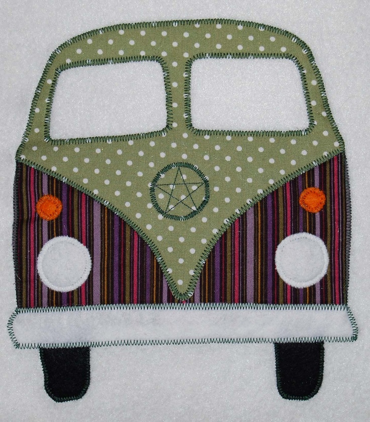 Appliqued Campervan Cushions Based on the VW Volkswagen Splitscreen Camper - Splitty