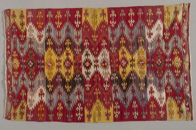 Kilim, 1900s, Turkey, wool, cotton, slit tapestry, the Collection of the Jedel Family Foundation (the image was provided to the Turkish Cultural Foundation by Spencer Museum of Art, University of Kansas)