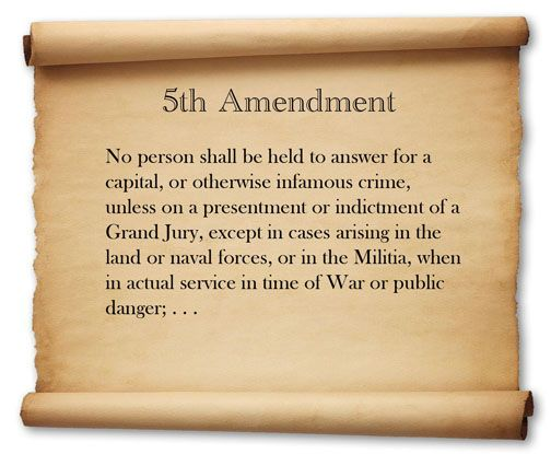 Constitution of the United States Amendment 5, The Bill of Rights1787 ...nor shall be compelled in any criminal case to be a witness against himself, nor be deprived of life, liberty, or property, without due process of law; nor shall private property be taken for public use; without just compensation.