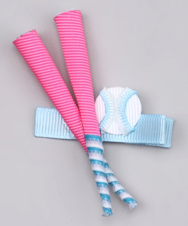 Take a look at this Pink Softball Bat Clip  by Sweet Treat Bows on #zulily today!