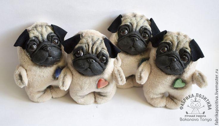 Купить Щенки мопса - бежевый, мопс, мопсик, щенок, мопс игрушка, мопс ручная работа