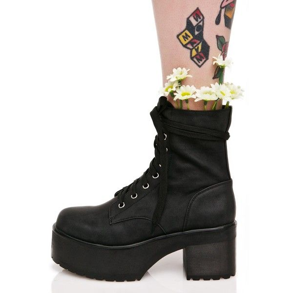 Black Pink Flower Grunge Combat Boots (120 CAD) ❤ liked on Polyvore featuring shoes, boots, ankle booties, platform combat boots, black platform boots, combat boots, chunky black booties and platform boots
