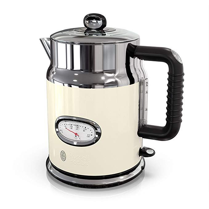 Amazon Com Russell Hobbs Ke5550crr Retro Style Electric Kettle 1 7l Cream Kitchen Dining Electric Kettle Electric Tea Kettle Kettle