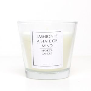 Scented candle with text