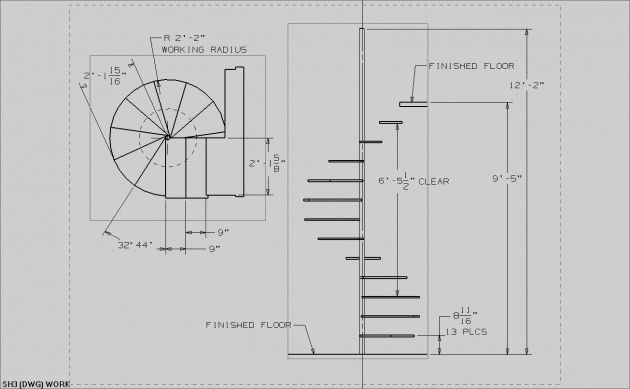 Best Spiral Staircase Measurements Drawing Simple Design Images 400 x 300