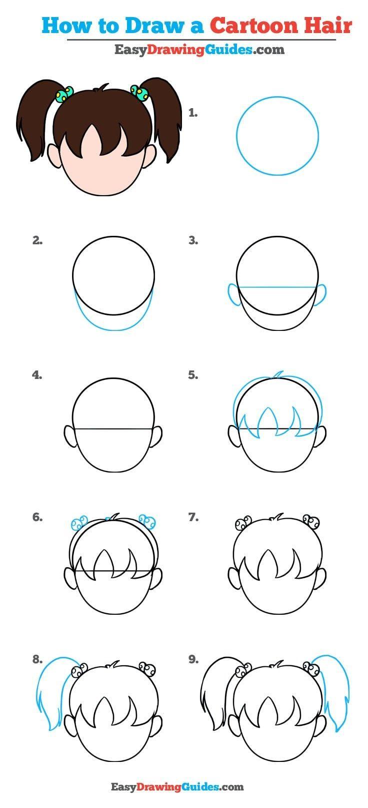 How To Draw Cartoon Hair Really Easy Drawing Tutorial Drawing Tutorial Easy Cartoon Drawings Drawing Cartoon Faces