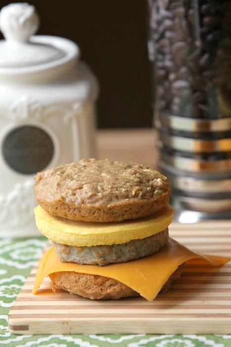 Pancake, Egg & Sausage Breakfast Sandwiches - Low Calorie, Low Fat, Healthy - Pin to your Breakfast board