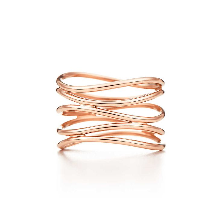 Elsa Peretti® Wave five-row ring in 18k rose gold. | Tiffany & Co. LOVE this ring. In rose or in yellow!