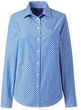 Lands' End Women's Plus Size Oxford Shirt-Vivid Blue Dots