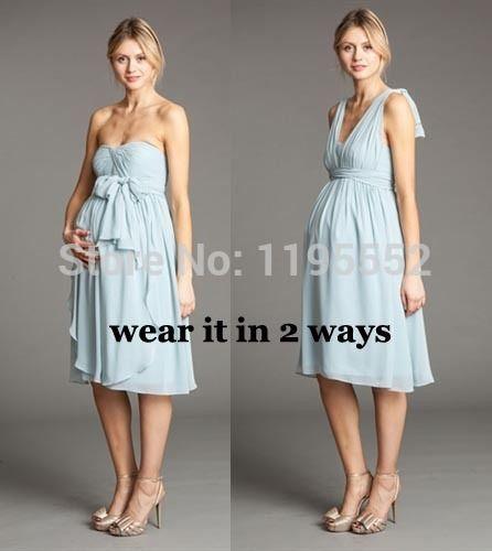 2015 Halter Light Blue Chiffon A Line Short Bridesmaid Dress Maternity Dress Wedding Guest Dress