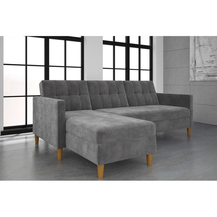 "This Stigall Futon Storage Reversible Sleeper Sectional is the perfect small space solution. This futon is a comfy yet space saving piece that will nicely compliment your living room. Enjoy its multifunctional features that allow you to easily interchange the futon and chaise as well as convert the sofa into a bed with just the sound of a ""click-clack"". Brilliant decorating for even the tiniest places!"