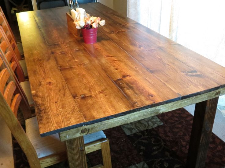Minwax Dark Walnut On Pine Finished farm table. pine top distressed ...