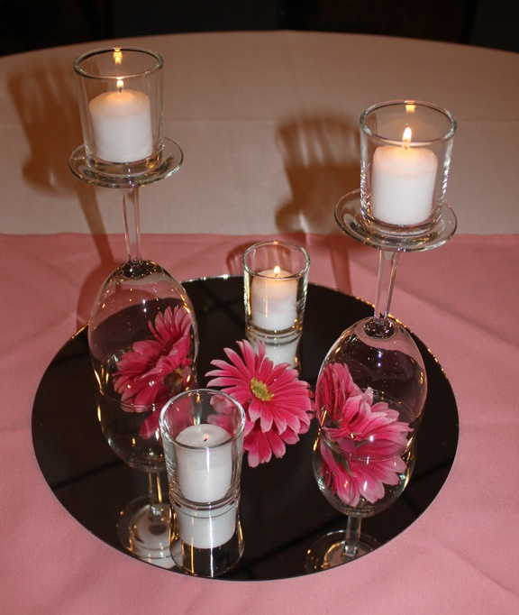 Wine glass centerpieces at the burgundy basin wedding for Wine glass decorations for weddings