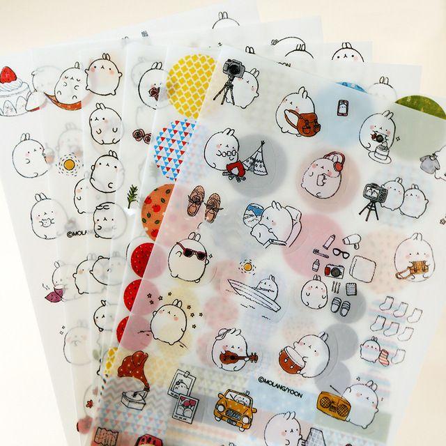 6 шт./лот милые molang кролик ПВХ бумаги наклейки украшения diy липкий альбом дневник скрапбукинга школьные принадлежности