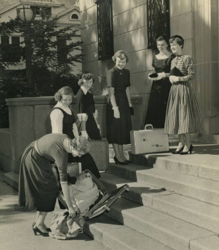Don't you hate it when your suitcase opens on move in day? I bet this student from 1954 does! Good thing we have arrival assistants to help first year students move in!  Photo credit: http://strosearchives.contentdm.oclc.org/cdm/singleitem/collection/p16074coll6/id/324/rec/30