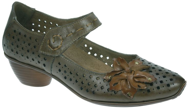 Look and feel stylish inthere'svery comfortable soft leather shoes with easy to use velcro strap and kitten heel. They will be a great addition to any outfit. Also with the convenience of aremovablesole for your orthotic needs- Leather upper and