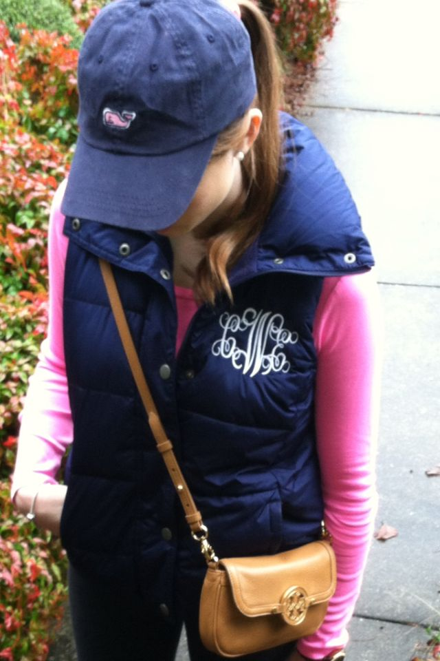 My favorite . Monogrammed vest , Vineyard Vines Cap and Tory Burch Crossover purse.