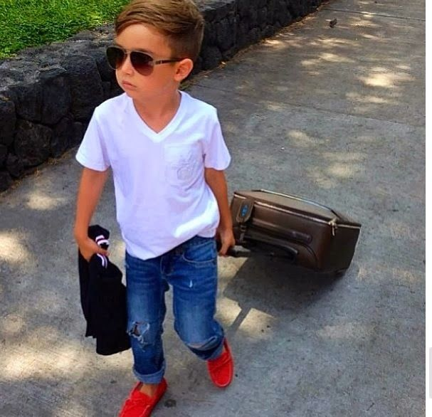 Cute little boy style.. time to get him some v-necks like his dad. red Natives for this summer?