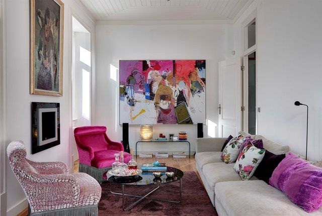 Pink and purple living room, chairs and cushins with designers guild fabric. Love the paint! Fusion Interior Design Project