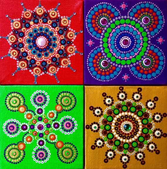 Petty canvas colorful  mandala dot art with wooden easel
