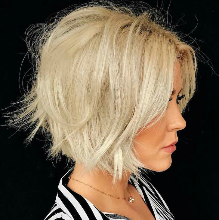 Edgy Cropped Bob Messy Blonde Bob Thick Hair Styles Messy Bob Hairstyles