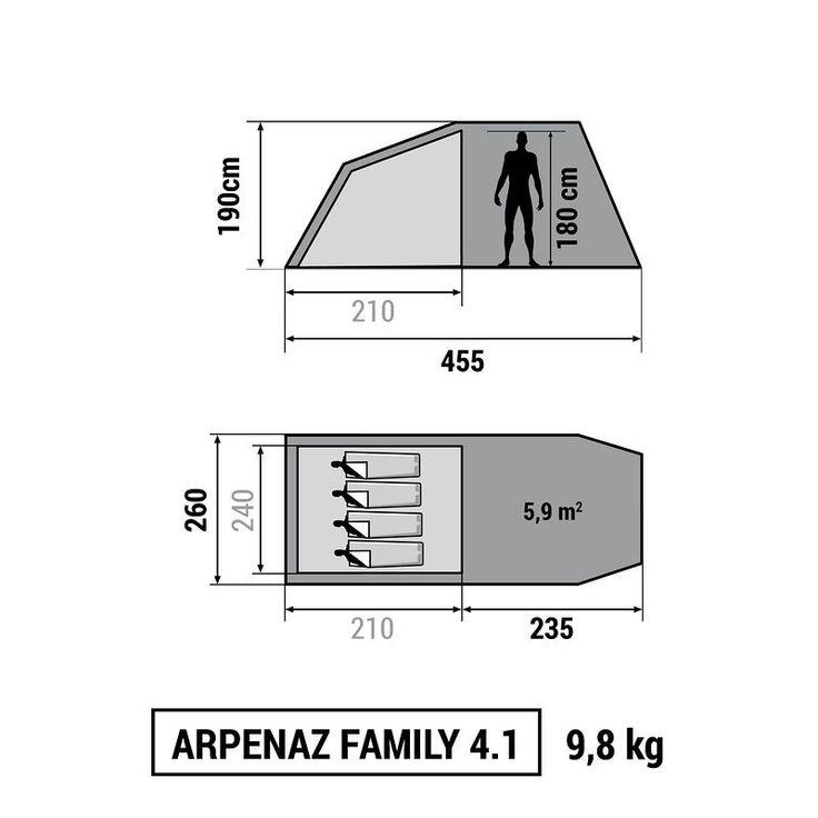 Kempingezés Kempingezés - Arpenaz Family 4.1 sátor QUECHUA - Hegy - QUECHUA