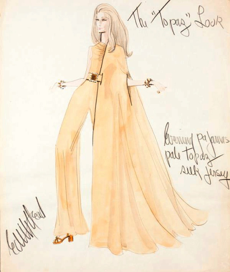 """Edith Head sketch marked """"The Topaz Look"""" for Alfred Hitchcock's Topaz (1969)"""